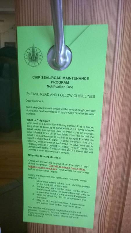 Medium notification of chip seal