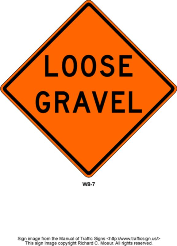 Medium loose gravel sign